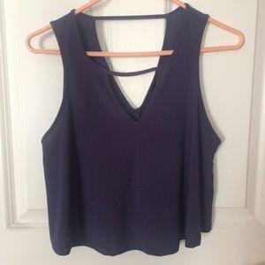 Navy/purple-ish crop top